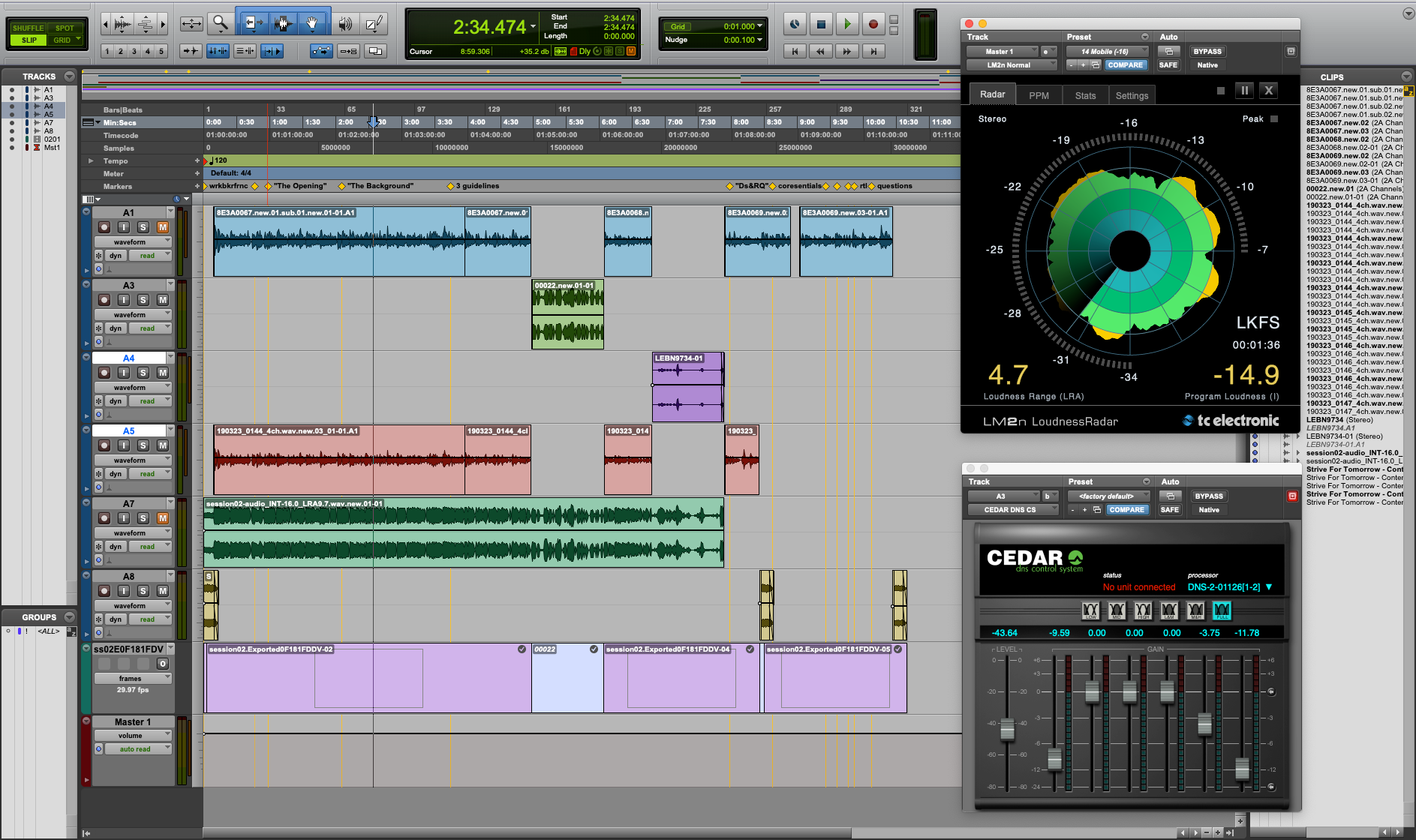 Audio editing screenshot